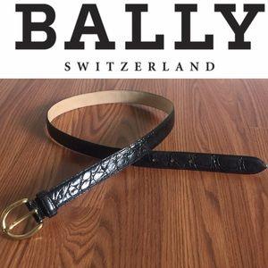 BALLY • Vintage Crocodile Belt Brass Buckle Sz L